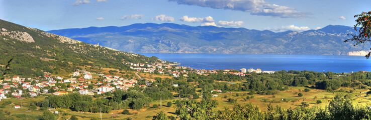 Panoramic view of Baska - croatian beautiful coastal town