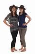 Zwei Frauen mit Lederhut