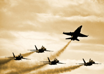 Fighter Jets Splitting Formation