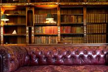 Skórzana kanapa i biblioteka retro