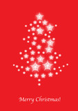 christmas tree made of stars card on red