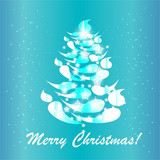 blue christmas tree card