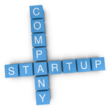 Startup company 3D crossword on white background
