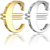 Tridimensional Euro Signs With A Partial Reflection v1