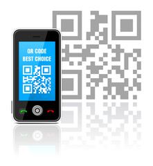 Cell phone with QR code - best choice. Vector illustration