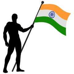 Vector illustration of a flag bearer