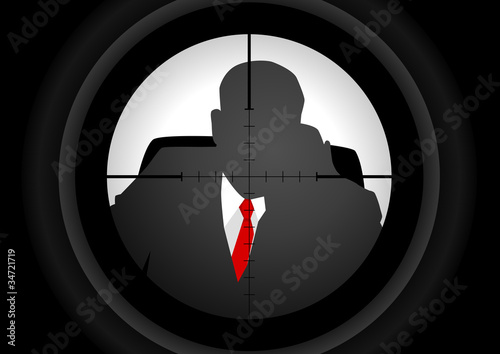 Vector illustration of a rifle lens aiming a person