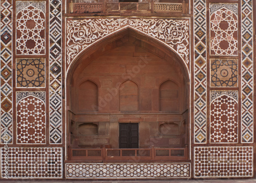 Front of arched gate at Akbar tomb in India's Agra.