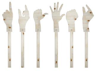set of gesture hand wooden sign