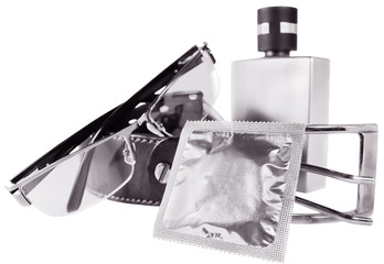 monochrome man accessories and condom isolated on white