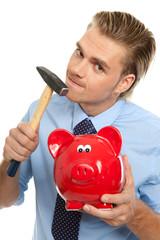 Das rote Sparschwein mit Hammer