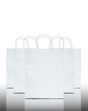 White paper bag on reflect floor and white background