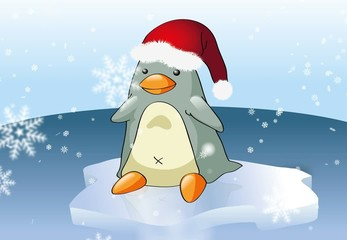 Christmas penguin with falling snow