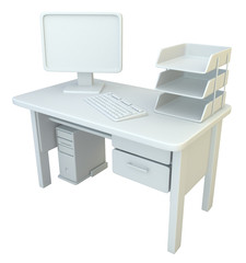 PC Desk, White