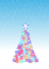 Christmas tree illustration on snowflake background