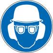 Gebotszeichen Augenschutz Kopfschutz Gehörschutz