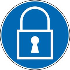Gebotszeichen Schloss verwenden abschließen Symbol