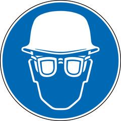 Gebotszeichen Augenschutz und Kopfschutz Zeichen