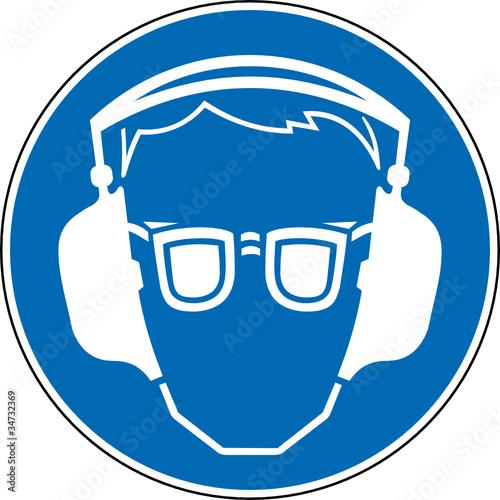 Gebotszeichen Gehörschutz und Augenschutz Zeichen