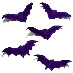 Set of silhouettes of flying bats
