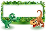 Dinosauri Cuccioli Giungla-Baby Dinosaur Jungle Background