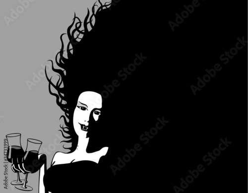 Halloween Invitation : Female Vampire offers a drink : AdobeStock