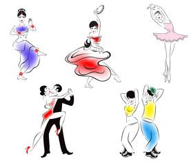 Иллюстрация пяти танцевальных стилей