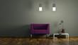 Wohndesign - lila Sessel beleuchtet