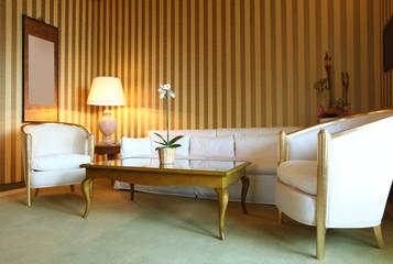 Interno salotto di lusso. Suite di hotel