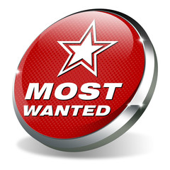 button 3d most wanted red white star