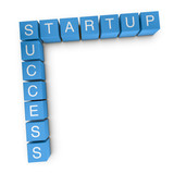Startup success 3D crossword on white background