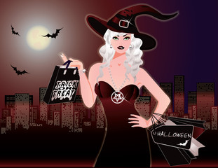 Halloween night shopping, vector illustration