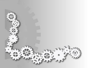 Corner border background with gray gears