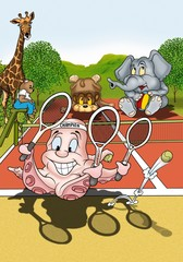Octopus Tennis Player - Cartoon Illustration