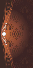 Shining stresses on the decorative brown background for design