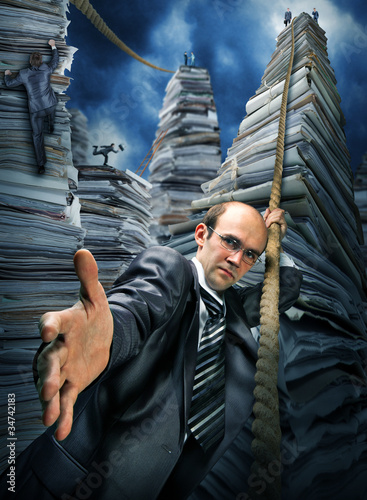 Businessman inviting you to climbing up