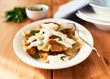 Pierogi with sour cream. Polish cuisine