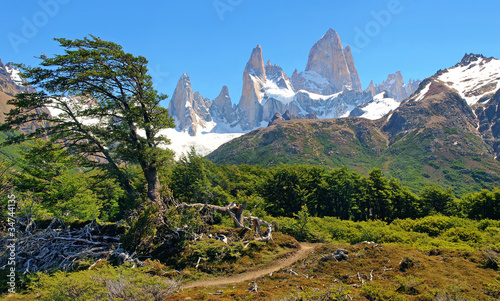 Wilderness with Mt Fitz Roy in Argentina, South America.