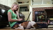 Girl on Cell Phone and Laptop with Jack-Rat Terrier Dog