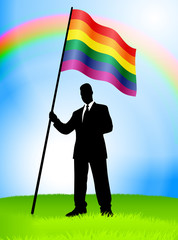 Businessman Leader Holding Gay Flag