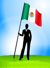 Businesswoman Leader Holding Mexico Flag
