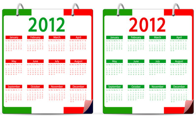 set of italy 2012 calendar isolated on white background