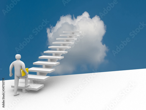 3d man climbs the ladder of success and a virtual career