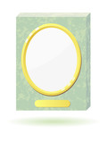 Vector illustration of a marble slab with a frame for photos. poster