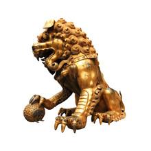 gilt lion statue