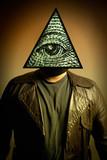 Man Wearing Illuminati Eye of Providence Mask poster