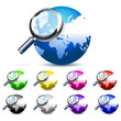 colorful global search glossy vector icon
