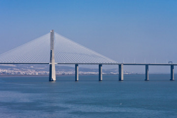 Vasco da Gama Bridge over Tejo in Lisbon