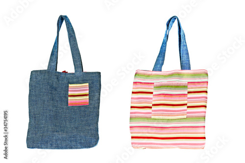 Colorful cotton bag on white isolated background.