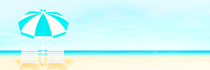 パラソルと海